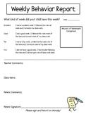 Weekly Behavior Report for Intermediate Grades FREE