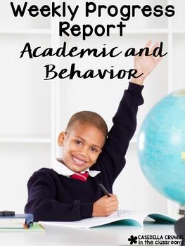Weekly Progress Report Academic and Behavior