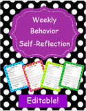 Weekly Behavior Review - Self-Reflection - EDITABLE!