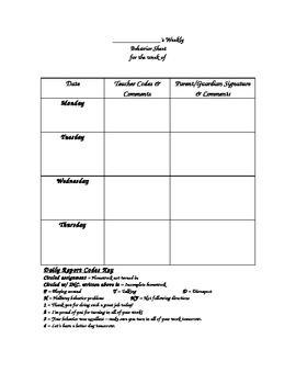 Weekly Behavior Sheet Note Home