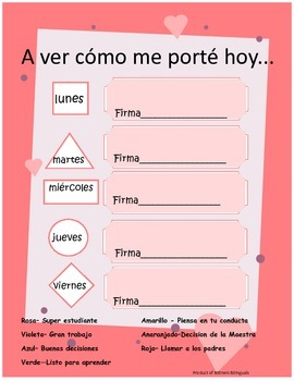 Weekly Behavior Sheet -Spanish