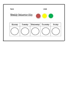 Weekly Behavior Slip
