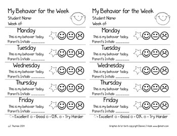 Weekly Behavior Slip Freebie