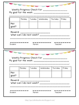 Weekly Behavior Slips