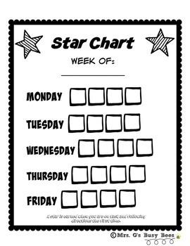 Weekly Behavior Star Chart