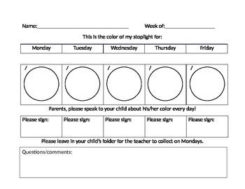 Weekly Behavior Stoplight