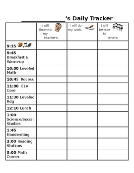 Weekly Behavior Tracker for Student