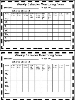Weekly Behavior Tracking Form