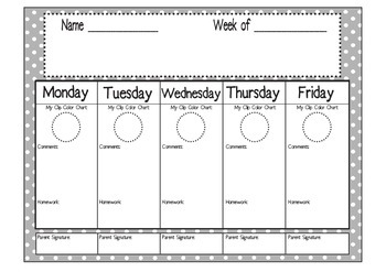 Weekly Behavior and HW Chart