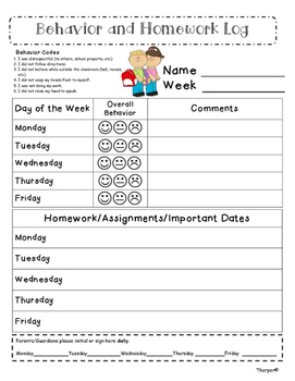 Weekly Behavior and Homework Log