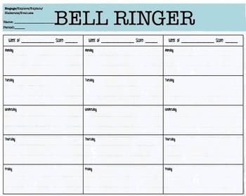 3 Week Bell Ringer Answer Sheet