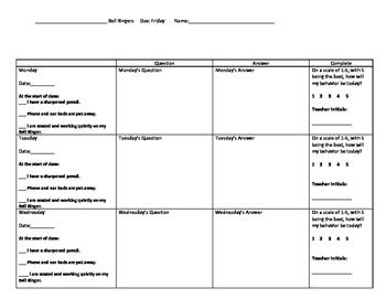 Weekly Bell Ringer Sheet