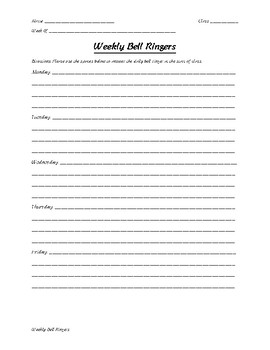 Weekly Bell Ringer Template