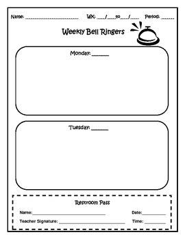 Weekly Bell Ringers Editable