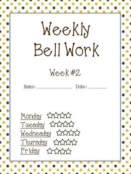 Weekly Bell Work Bundle #2 - Daily Reading & Math Practice for 2nd and 3rd grade
