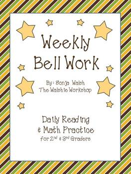 Weekly Bell Work Bundle #3 - Daily Reading & Math Practice for 2nd and 3rd grade