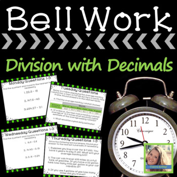 Math Warm Ups Division of Multiple Digits with Decimals