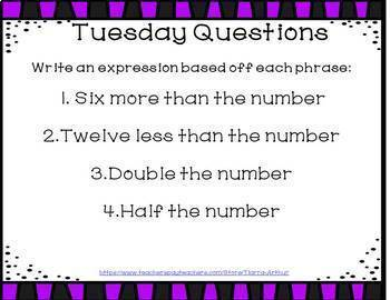 Math Warm Ups Expressions