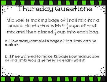 Weekly Bell Work: Fractions