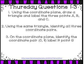 Weekly Bell Work: Graphing on the Coordinate Plane