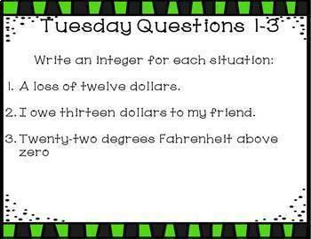 Math Warm Ups Integers