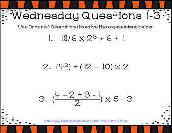 Math Warm Up Order of Operations
