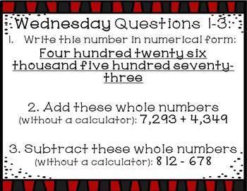 Math Warm Ups Whole Numbers