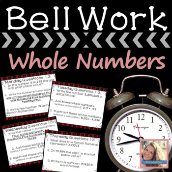 Math Warm Up Whole Numbers