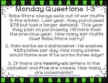 Weekly Bell Work: Whole Numbers Word Problems Edition
