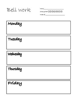 Weekly Bell work worksheet