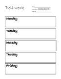 Weekly Bell work worksheet