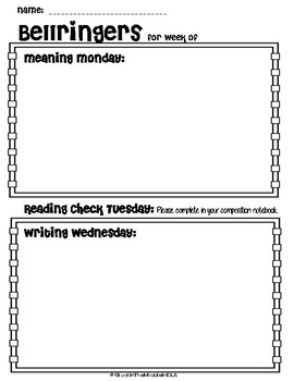 picture about Free Printable Bell Ringers named Weekly Bellringer Templates Worksheets Instruction Components