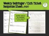 Weekly Bellringer & Exit Ticket Response Sheet (PDF)