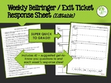 Weekly Bellringer & Exit Ticket Response Sheet (editable)