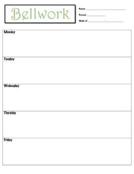Weekly Bellringer Sheet