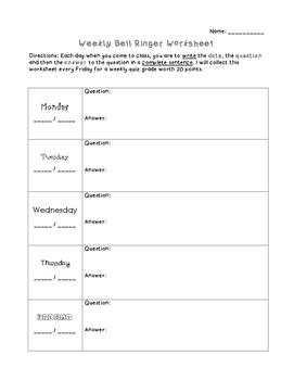 Weekly Bellringer Worksheet 3