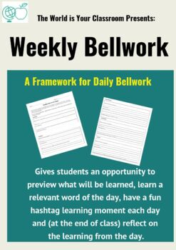 Weekly Bellwork Template with Fun Hashtags!