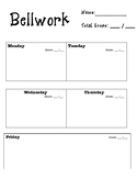 Weekly Bellwork Worksheet