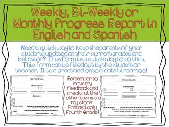 Weekly, Bi-weekly and Monthly Progress Report in English and Spanish