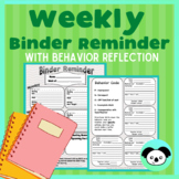 Weekly Binder Reminder/Student Agenda integrated with Behavior Expectations