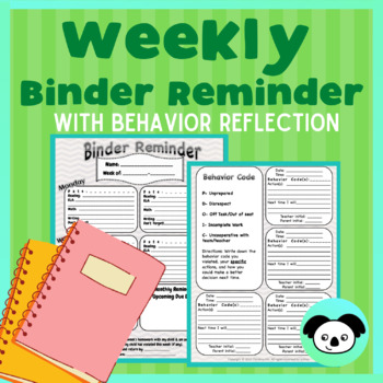 Weekly Binder Reminder/Student Agenda integrated with Beha