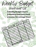 Weekly Budget Worksheet, Teaching Budgeting, Budget Sheet, Kids Budget