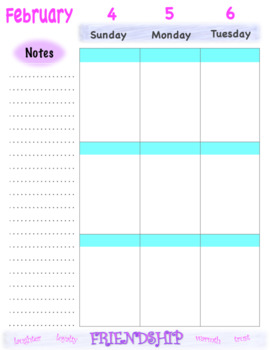 Weekly Calendar Pages 2017-2018 August to August