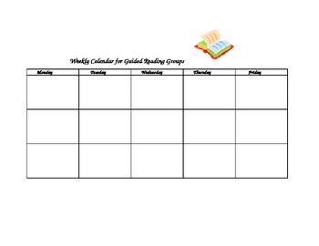 Weekly Calendar for Guided Reading