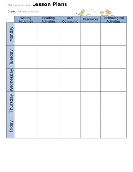 Weekly Calendar for Lesson Planing
