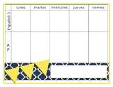 Weekly Calendar template lesson planner Spanish (editable)