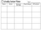 Weekly Center Planning Template