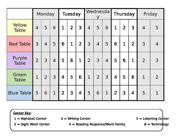 Weekly Center Schedule