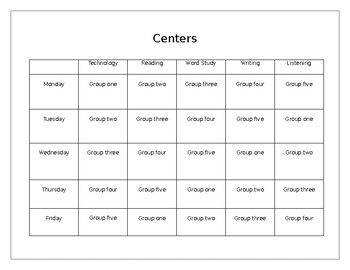 Weekly Center Rotation  Schedule