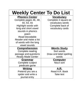 Weekly Center to Do Checklist with Direction Pages